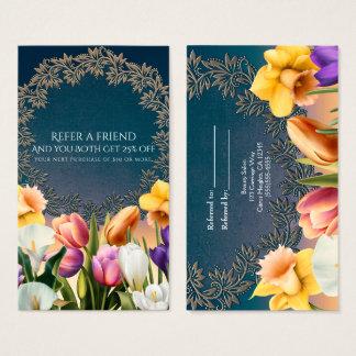 Spring Flowers Floral Frame Elegant Refer a Friend Business Card
