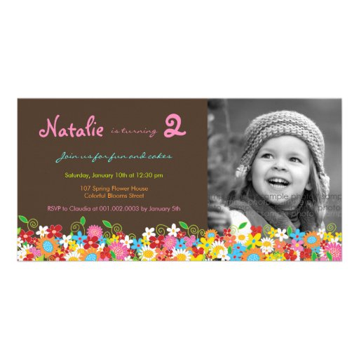 Spring Flowers Garden Birthday Invite Photo Card Personalized Photo Card
