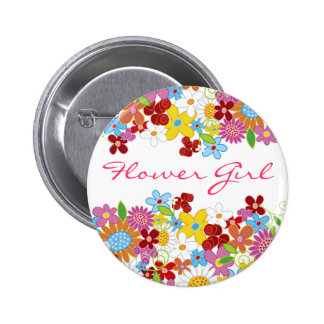 Spring Flowers Garden FLOWER GIRL Wedding Button