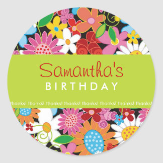 Spring Flowers Garden Girl Birthday Party Sticker