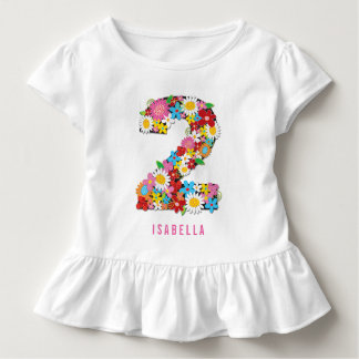 Spring Flowers Garden Two Girl 2nd Birthday Party Toddler T-shirt
