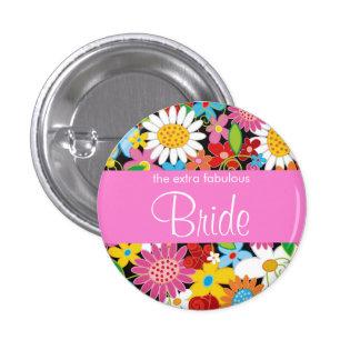 Spring Flowers Garden Wedding Bride Sweet Name Tag 1 Inch Round Button