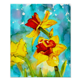 Spring flowers in bloom - daffodils in alcohol ink poster