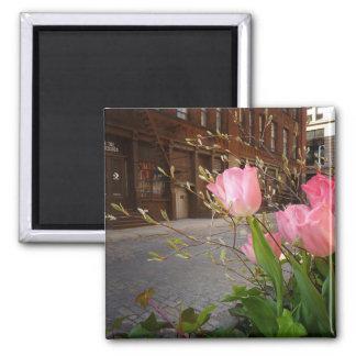Spring Flowers in Soho, New York City Square Magnet