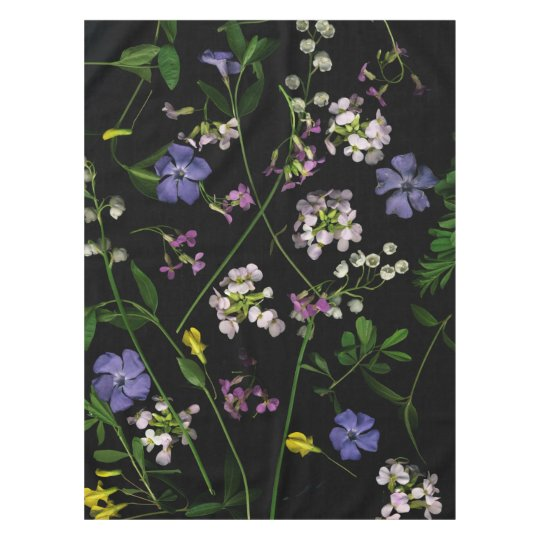 Spring flowers on a black tablecloth