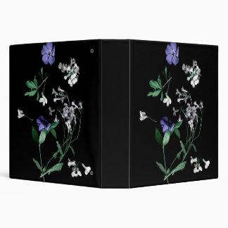 "Spring flowers on black 1.5"" Binder"
