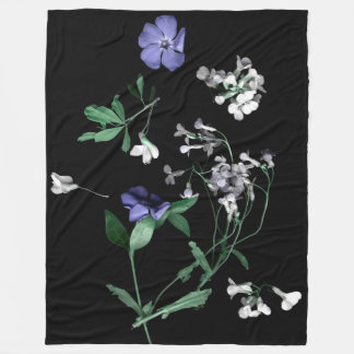 Spring flowers on black Fleece Blanket, Large