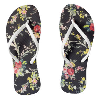 Spring Flowers on Black Flip Flops