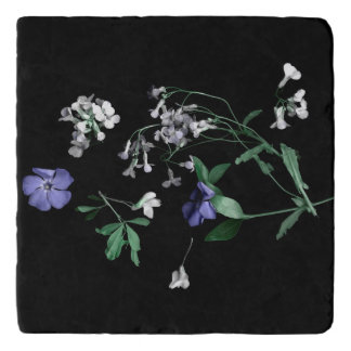 Spring flowers on black Marble Stone Trivet