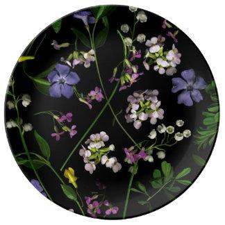 Spring flowers on black Porcelain Plate