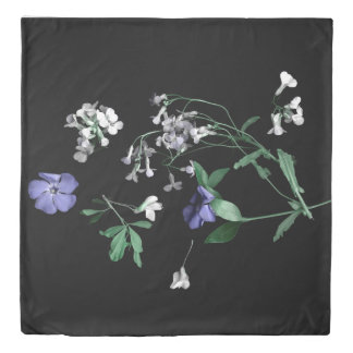 Spring flowers on black Queen Size Duvet Cover