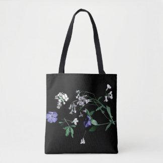 Spring flowers on black Tote Bag