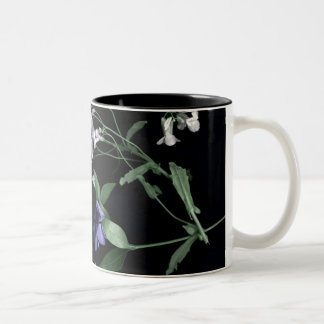 Spring flowers on black Two-Tone Mug