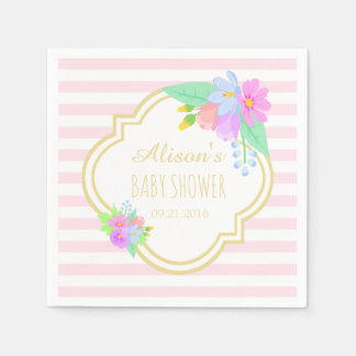 Spring Flowers On Pink Baby Shower Paper Napkins