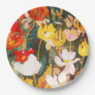 Spring Flowers Painting Easter Brunch Paper Plates