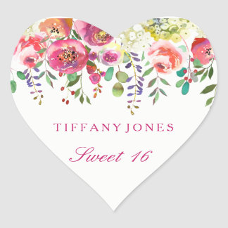 Spring Flowers Pink Peach Sweet 16 Thank You Heart Sticker
