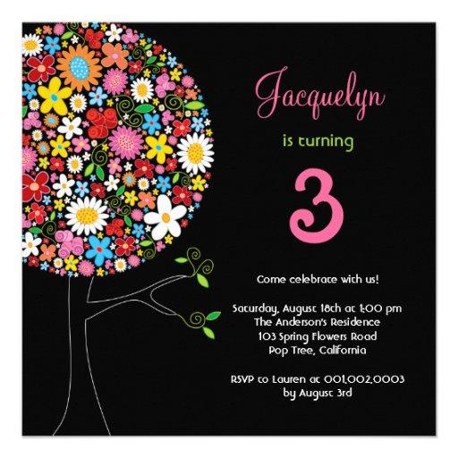 Spring Flowers Pop Tree Birthday Party Invite Invitations