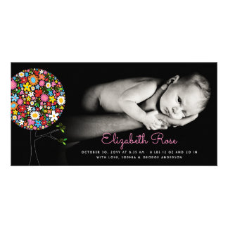 Spring Flowers Pop Tree Girl Birth Announcement Card