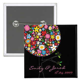 Spring Flowers Pop Tree Save-the-Date Button