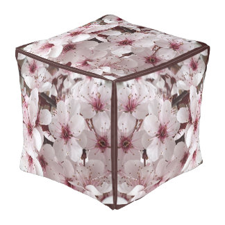 Spring Flowers Pouf- Home Decor-Burgundy/White Pouf