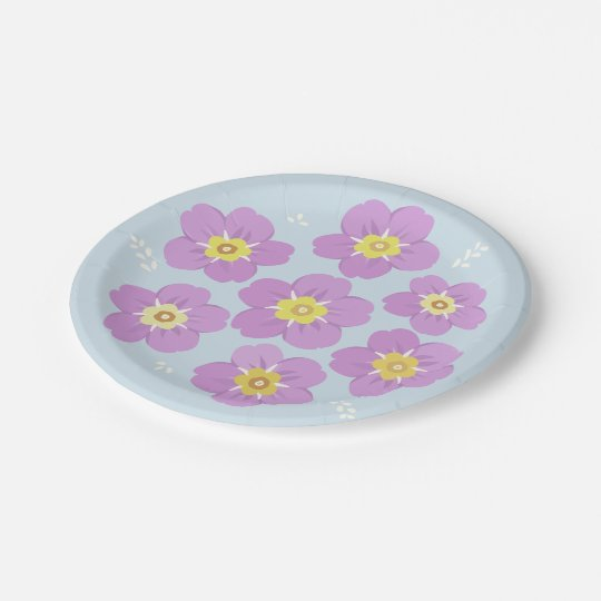 Spring Flowers Purple Sweet Floral 7 Inch Paper Plate