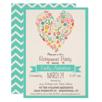 Spring Flowers Retro Retirement Party Invitation