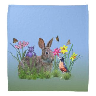 Spring Flowers, Robin,  and Bunny Rabbit Bandana