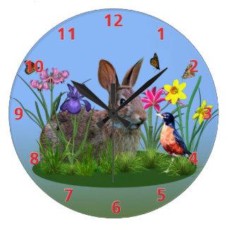 Spring Flowers, Robin,  and Bunny Rabbit Clocks