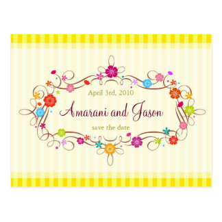 Spring Flowers Save the Date Post Card