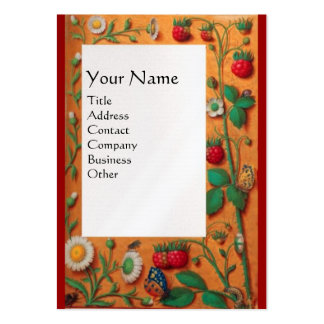 SPRING FLOWERS ,STRAWBERRIES AND BUTTERFLIES LARGE BUSINESS CARD