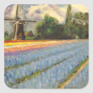 Spring Flowers Windmill Square Sticker