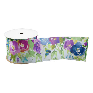 Spring flowers with bright colors satin ribbon