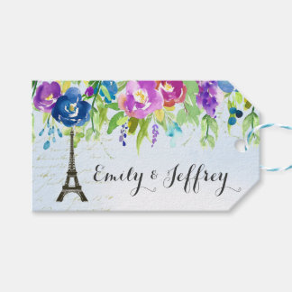 Spring Flowers with Paris Eiffel Tower Gift Tags