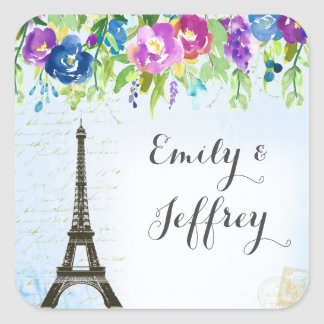 Spring Flowers with Paris Eiffel Tower Square Sticker