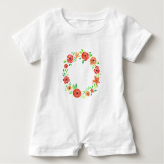 Spring flowers wreath baby romper