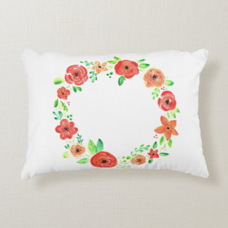 Spring flowers wreath decorative pillow