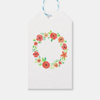 Spring flowers wreath gift tags