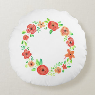 Spring flowers wreath round pillow