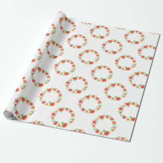 Spring flowers wreath wrapping paper