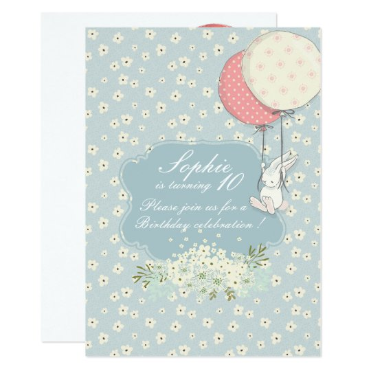 Spring flying Bunny Birthday Invitation