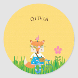 Spring Fox Girl Classic Round Sticker