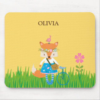 Spring Fox Girl Mouse Pad
