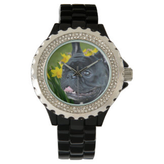 Spring French Bulldog dog wrist watch
