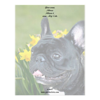 Spring French Bulldog stationary Letterhead