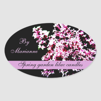 Spring garden lilac candles/ soap label oval sticker