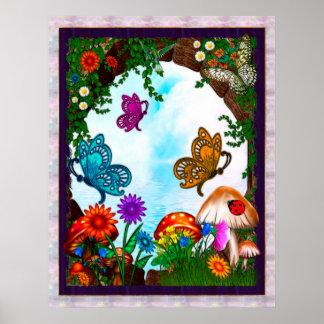Spring Gardens Whimsical Fantasy Art Poster