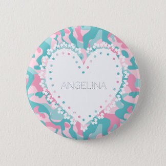 Spring Girly Camouflage Personalize 2 Inch Round Button