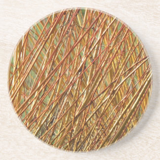 Spring Gold Branches Natural Pattern Coaster