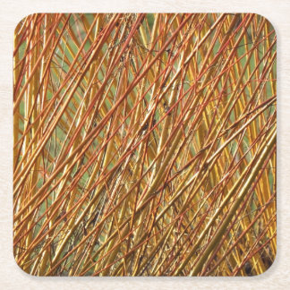 Spring Gold Branches Natural Pattern Square Paper Coaster
