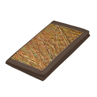 Spring Gold Branches Natural Pattern Trifold Wallets